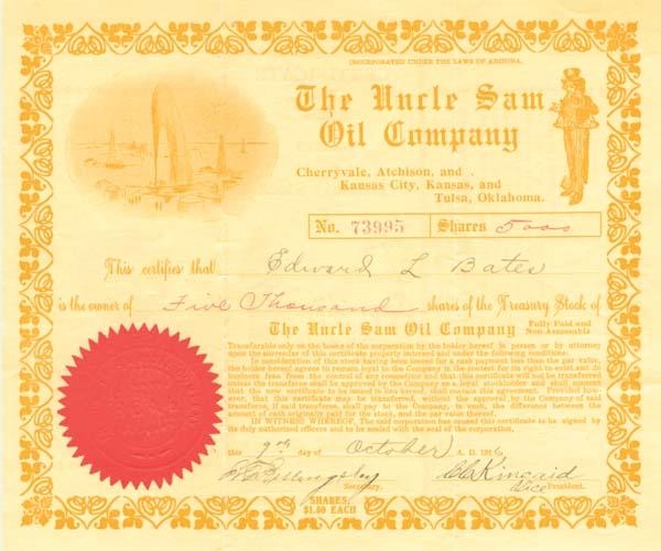 Uncle Sam Oil Company - Stock Certificate