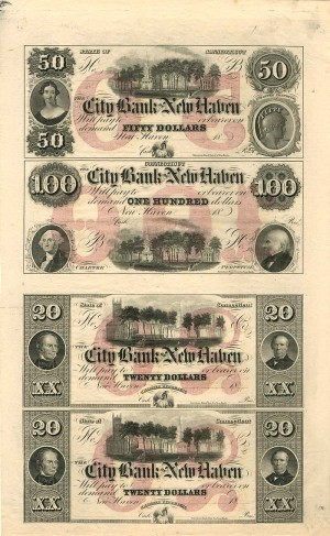 City Bank of New Haven - Uncut Obsolete Sheet - Broken Bank Notes