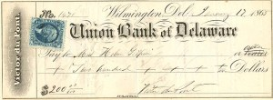 Union Bank of Delaware signed by Victor DuPont