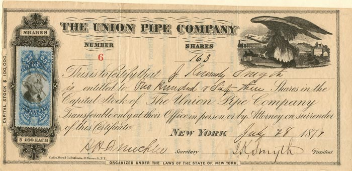 Union Pipe Company signed by J.K. Smythe