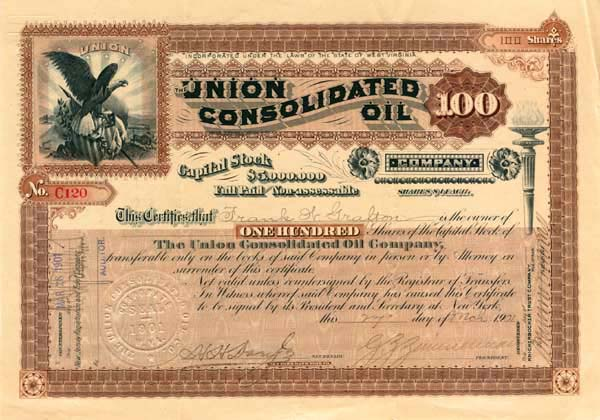 Union Consolidated Oil Company - Stock Certificate