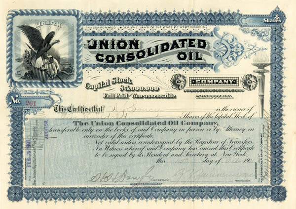 Union Consolidated Oil Company - Stock Certificate - SOLD