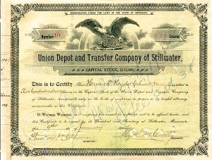 Union Depot & Transfer Company of Stillwater - Stock Certificate