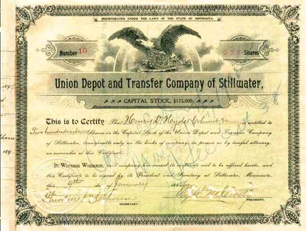 Union Depot and Transfer Company of Stillwater - Stock Certificate