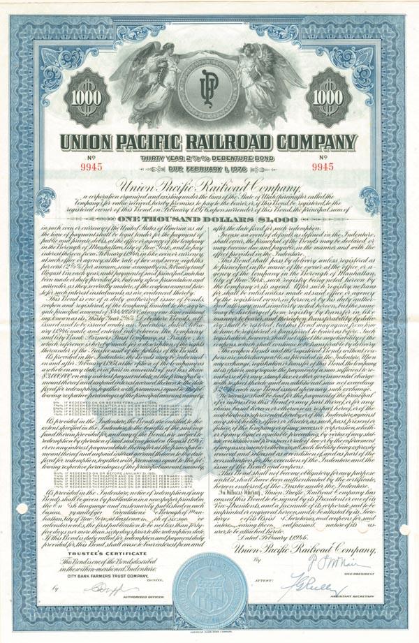 Union Pacific Railroad Bond