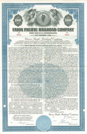 Union Pacific Railroad Bond