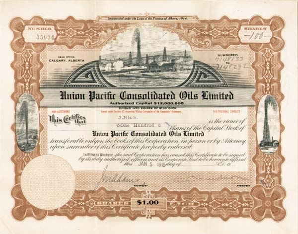 Union Pacific Consolidated Oils Limited - Stock Certificate