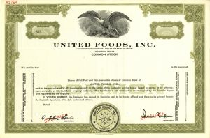 United Foods, Inc - Specimen