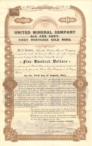 United Mineral Company - $500 Bond