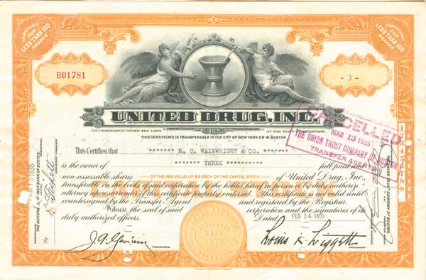 United Drug, Incorporated - Stock Certificate