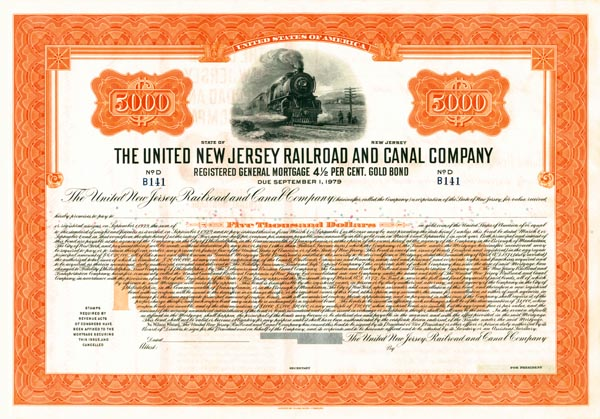 United New Jersey Railroad & Canal Company - Bond