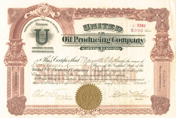 United Oil Producing Co - Stock Certificate