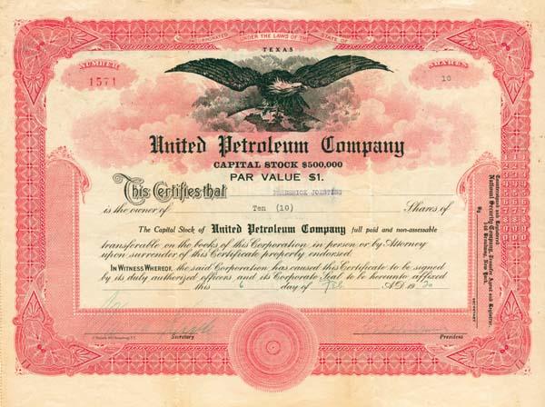 United Petroleum Company - Stock Certificate