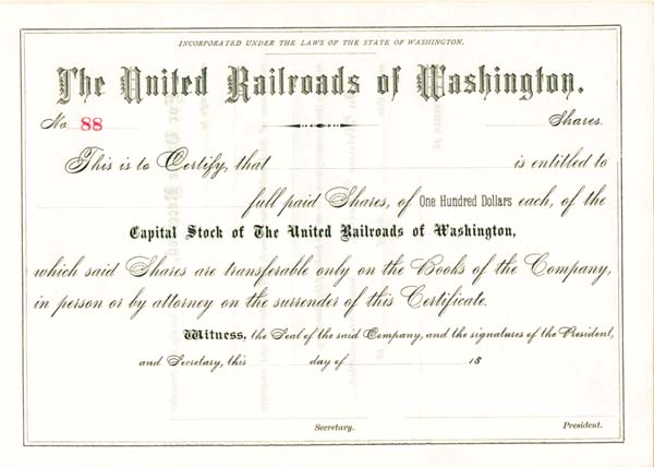 United Railroads of Washington - Stock Certificate