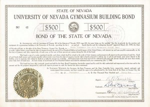 University of Nevada Gymnasium Building Bond - SOLD