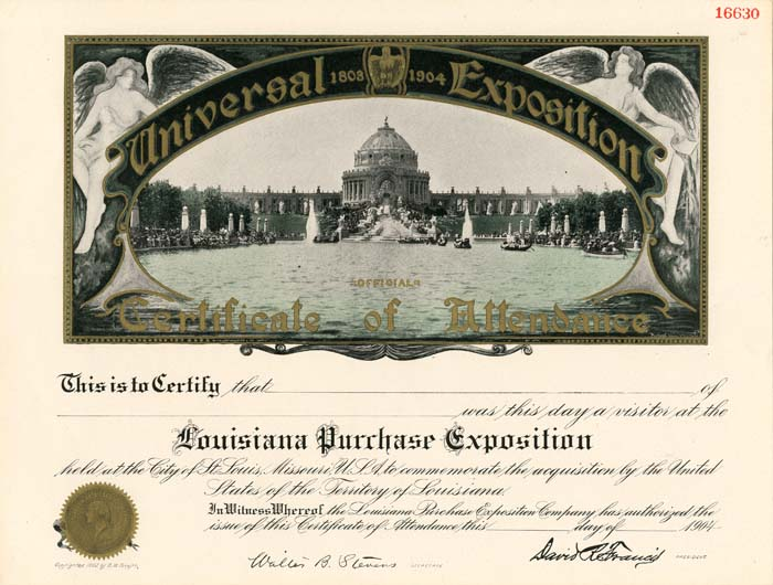 Universal Exposition - Louisiana Purchase Certificate