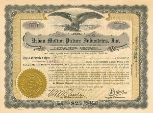 Urban Motion Picture Industries, Inc - Stock Certificate
