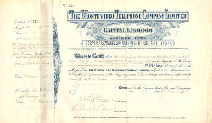 Monte Video Telephone Company Limited  - Stock Certificate
