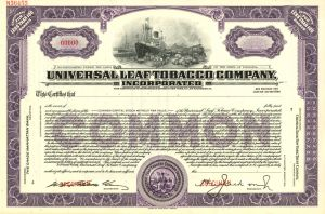 Universal Leaf Tobacco Company  - Stock Certificate