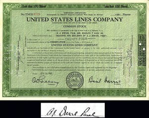 United States Lines Company- signed by A.J. Drexel Paul