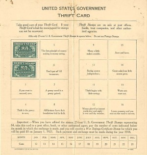 United States Government Thrift Card - SOLD