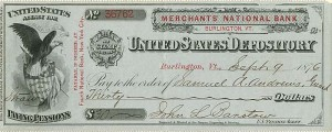 Merchants' National Bank Check