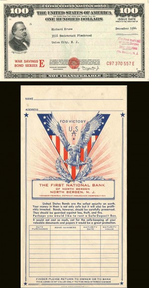 $100 United States Savings Bond and Envelope