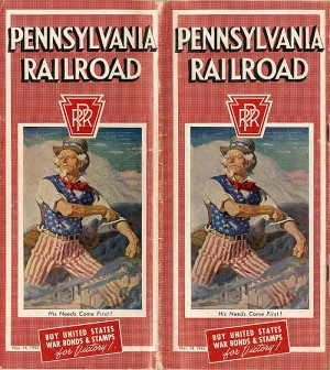 Pennsylvania Railroad Schedule Booklet Advertising War Bonds