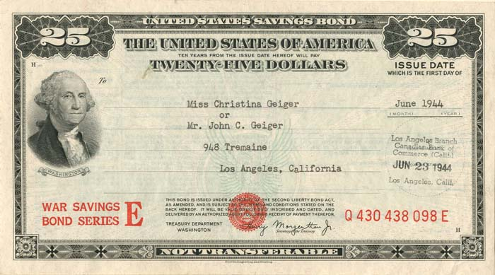$25 United States Savings Bond