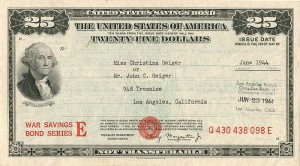 $25 United States Savings Bond - SOLD