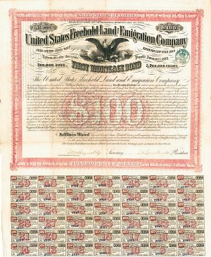 United States Freehold Land and Emigration Company $100 Bond signed by General Ambrose E. Burnside