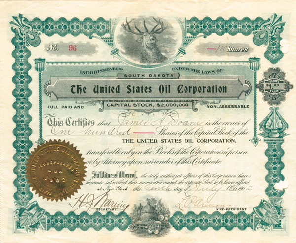United States Oil Corporation - Stock Certificate