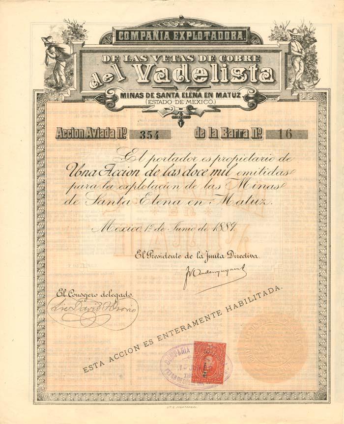 Compania Explotadora De Las Vetas De Cobre Del Vadelista - SOLD