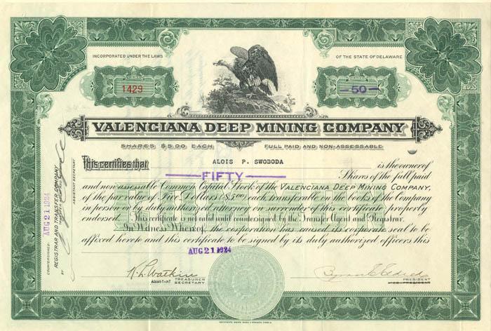 Valenciana Deep Mining Company - Stock Certificate