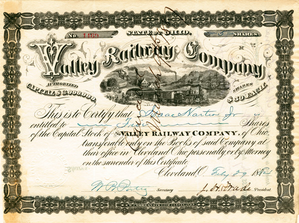 J. H. Wade - Valley Railway Co - Stock Certificate