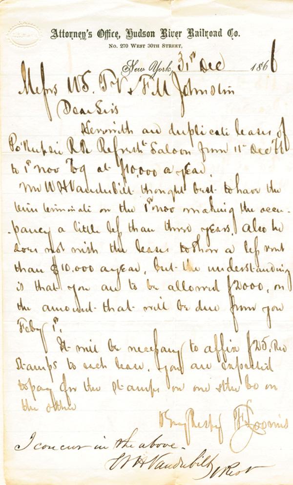 W. H. Vanderbilt signed Letter