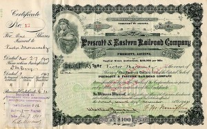 Prescott & Eastern Railroad Company signed by Victor Morawetz