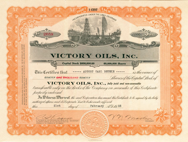 Victory Oils, Inc - Stock Certificate