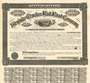 Virginia & Truckee Railroad Co. - SOLD