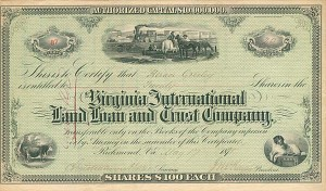 Issued to Horace Greeley - Virginia International Land Loan and Trust Company