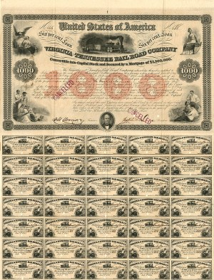 Virginia and Tennessee Railroad Company - $1,000- SOLD