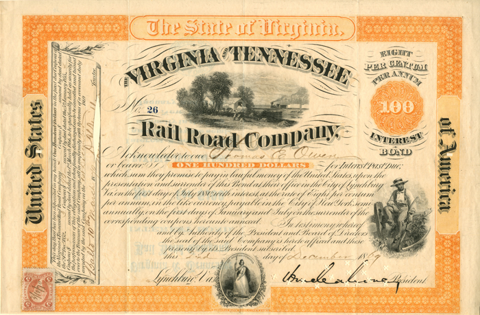 General William Mahone - Virginia and Tennessee Railroad Company $100 Bond
