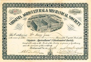 Virginia Agricultural & Mechanical Society - Stock Certificate