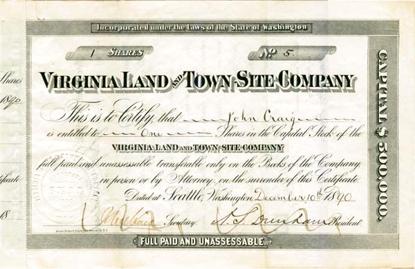 Virginia Land and Town-Site Company - Stock Certificate