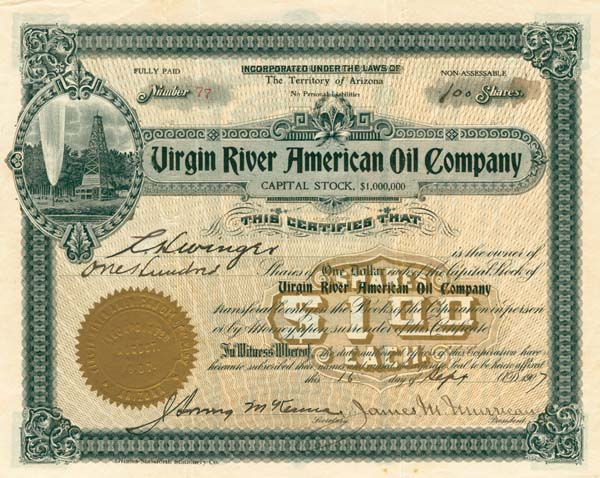 Virgin River American Oil Company - Stock Certificate