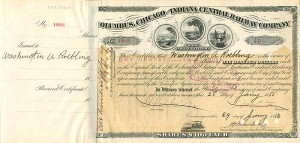 Columbus, Chicago and Indiana Central Railway issued to and signed by Washington A. Roebling