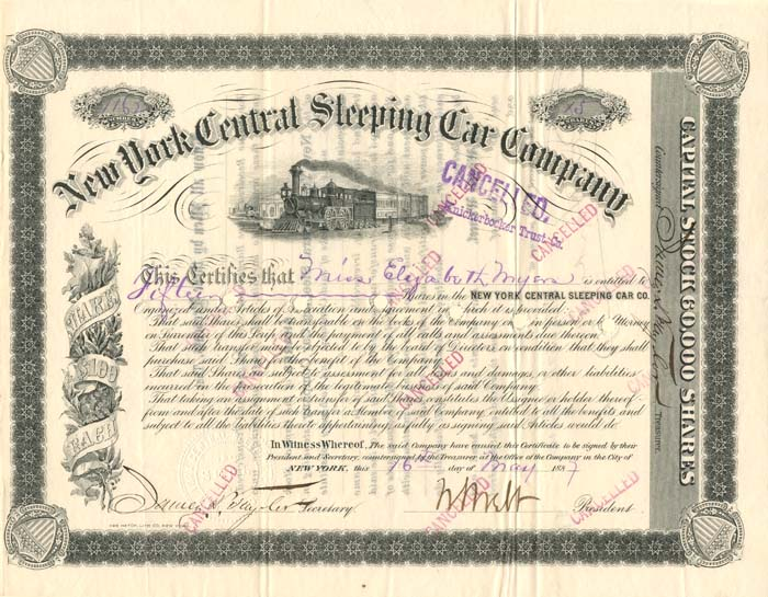 New York Central Sleeping Car Company signed by Wm. Webb