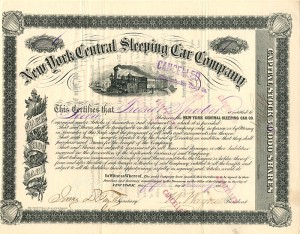 New York Central Sleeping Car Company signed by W. Wagner - Stock Certificate