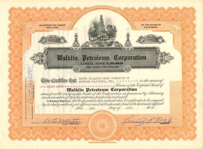 Walklin Petroleum Corporation - Stock Certificate