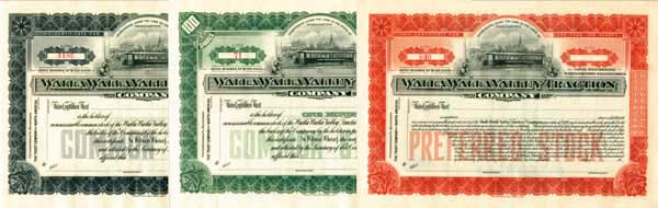 Walla Walla Valley Traction Company - Stock Certificate